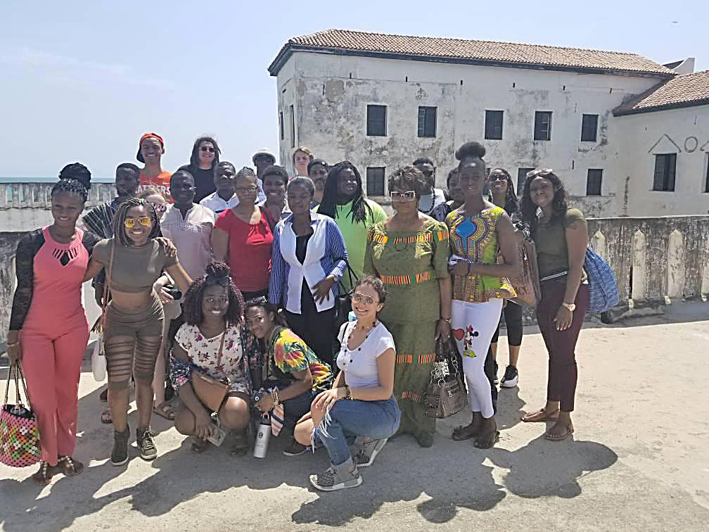 TCC and FAMU students in front of Elmina Castle